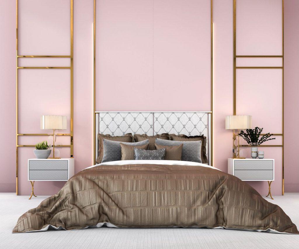 exemple chambre dorée rose
